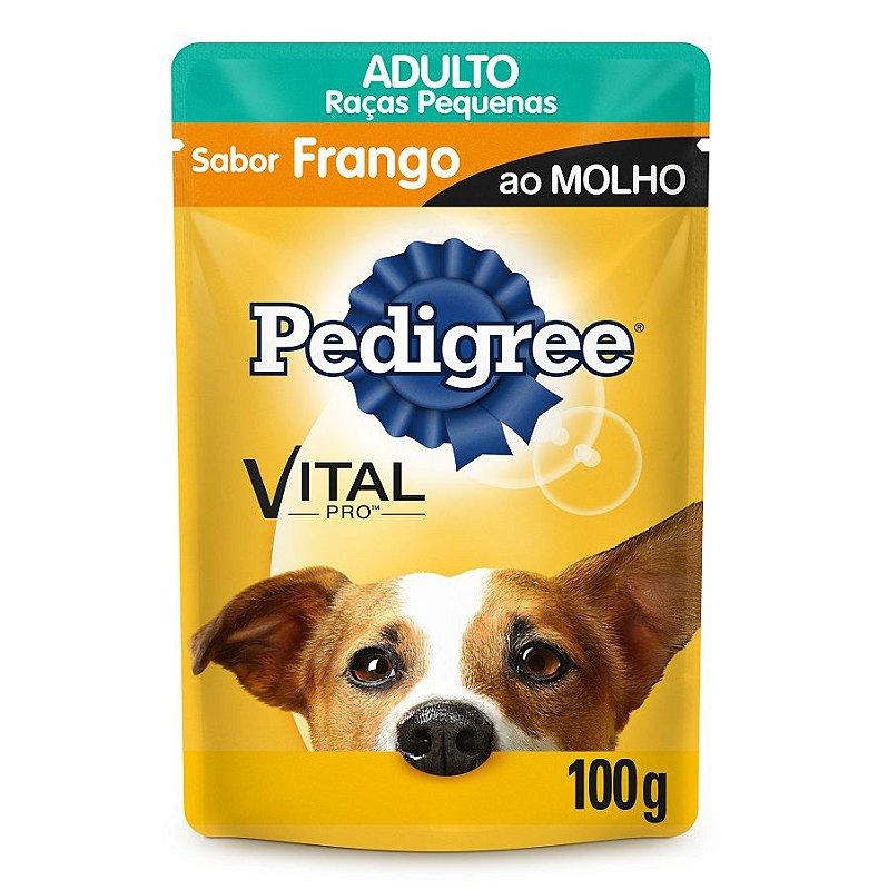 Ração Úmida Pedigree Sachê Vital Pro para Cães Adultos de Raças Pequenas Sabor Frango ao Molho - 100g