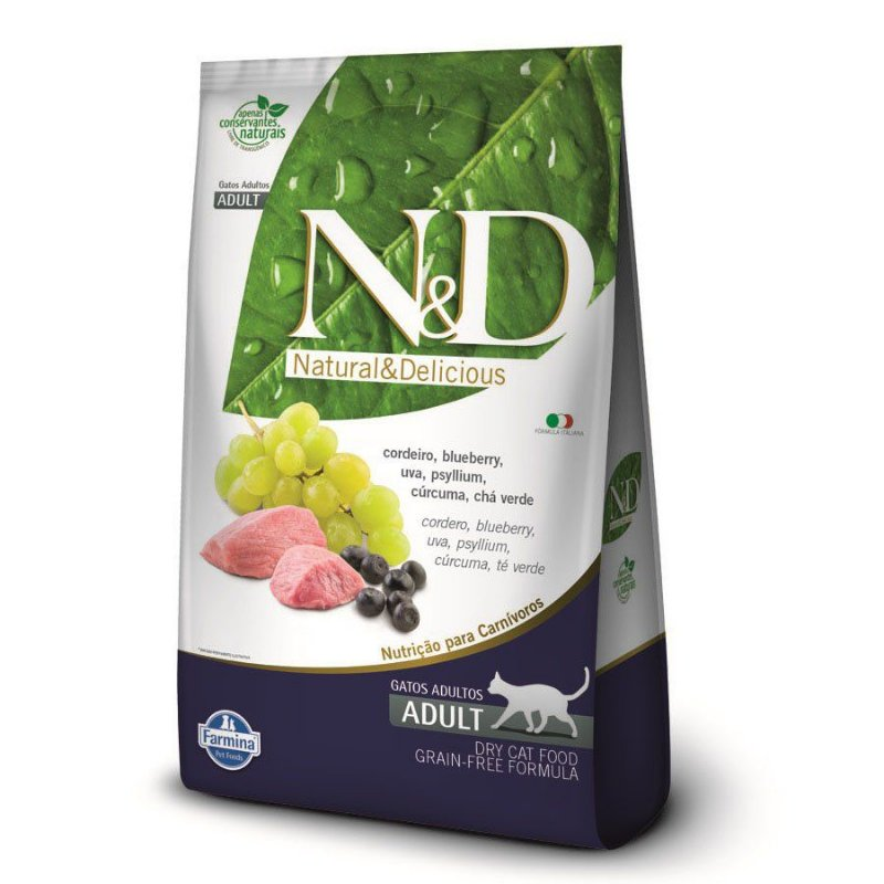 Ração Farmina N&D Grain Free para Gatos Adultos Sabor Cordeiro e Blueberry