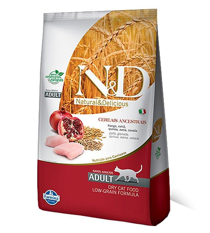 Ração Farmina N&D Low Grain para Gatos Adultos Sabor Frango e Romã