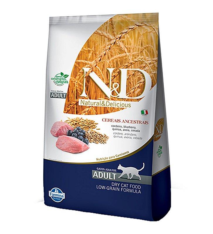 Ração Farmina N&D Low Grain para Gatos Adultos Sabor Cordeiro e Blueberry