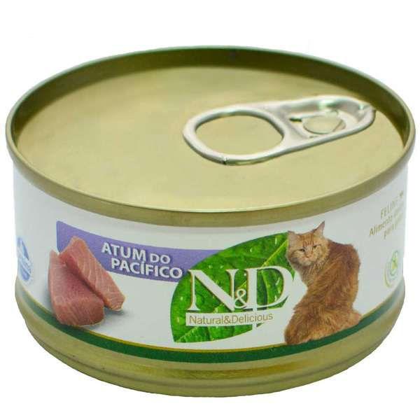 Ração Úmida N&D Lata Para Gatos Adultos Sabor Atum do Pacífico - 70g