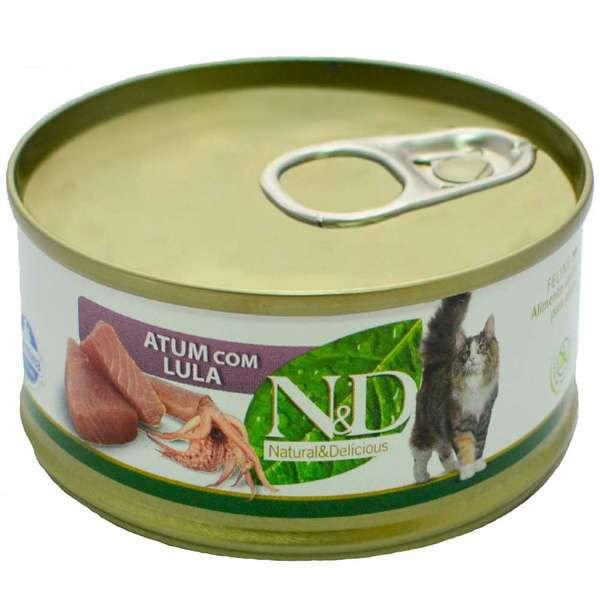 Ração Úmida N&D Lata Para Gatos Adultos Sabor Atum e Lula - 70g