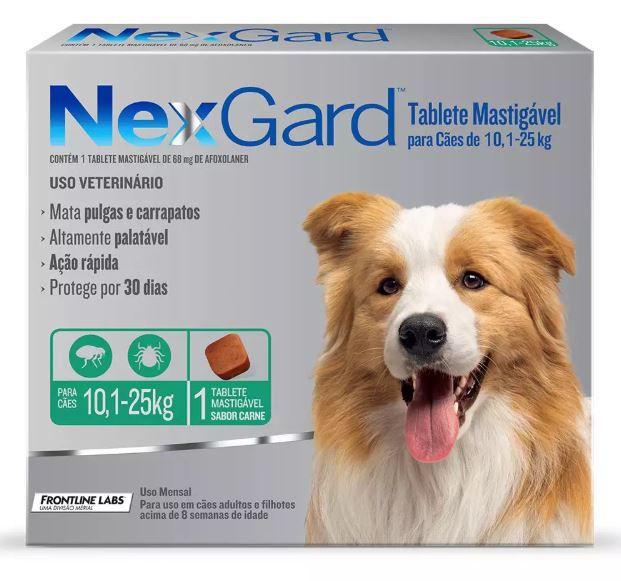 Antipulgas e Carrapatos Merial Nexgard para Cães de 10 a 25 kg
