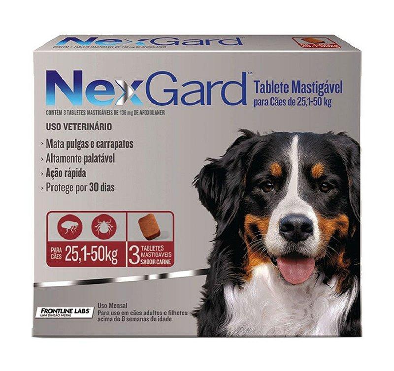 Nexgard 25 a 50 kg Antipulgas e Carrapatos Merial para Cães