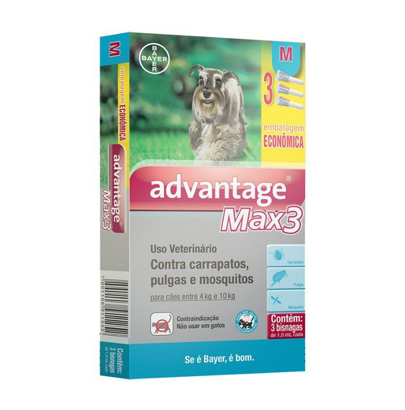 Antipulgas e Carrapatos Combo Advantage Max3 para cães entre 4 e 10kg 1,0ml