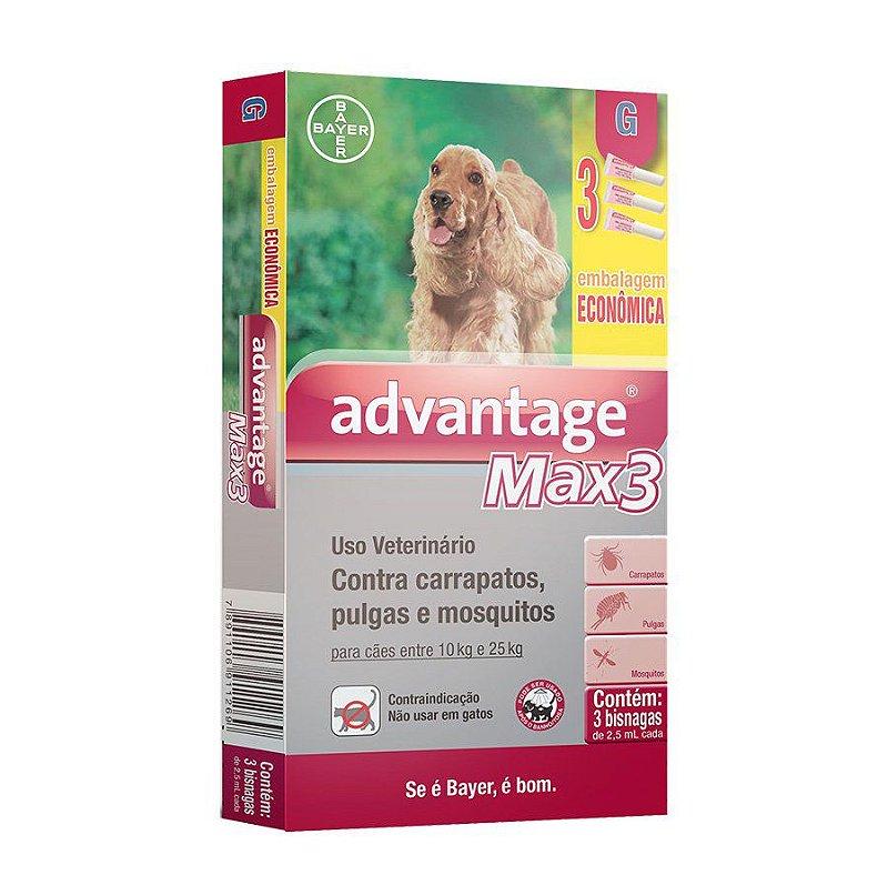 Antipulgas e Carrapatos Combo Advantage Max3 para Cães entre 10 e 25kg 2,5ml
