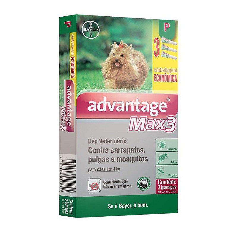 Antipulgas e Carrapatos Combo Advantage Max3 para cães até 4kg 0,4ml