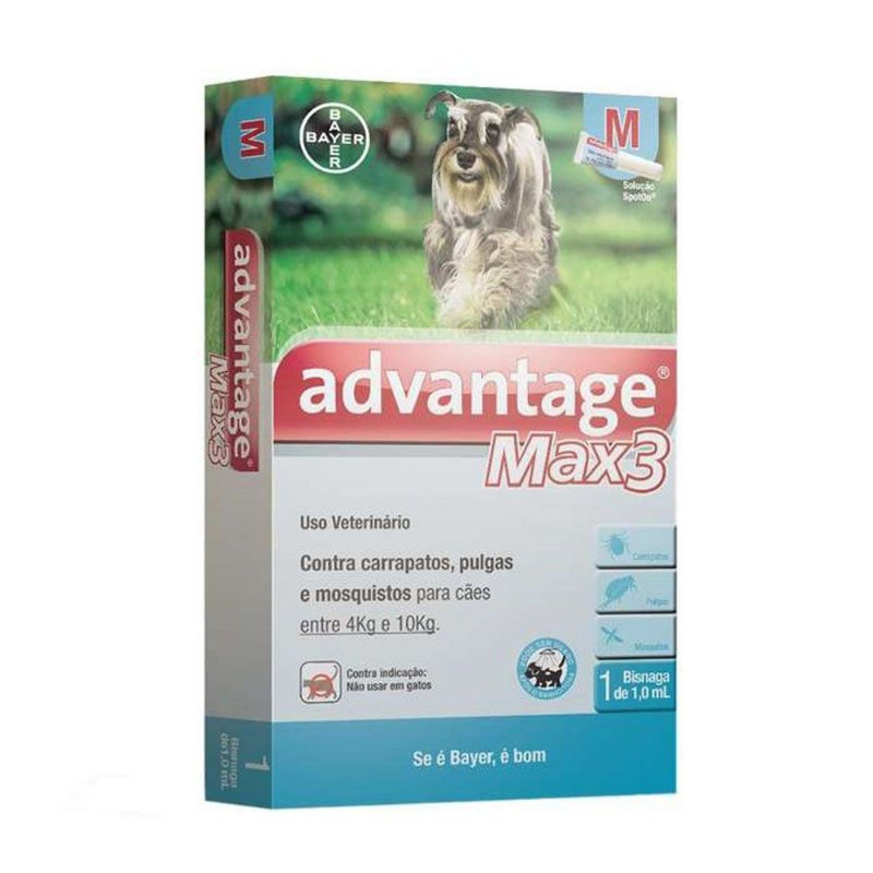 Antipulgas e Carrapatos Advantage Max3 1,0ml para Cães entre 4 e 10kg