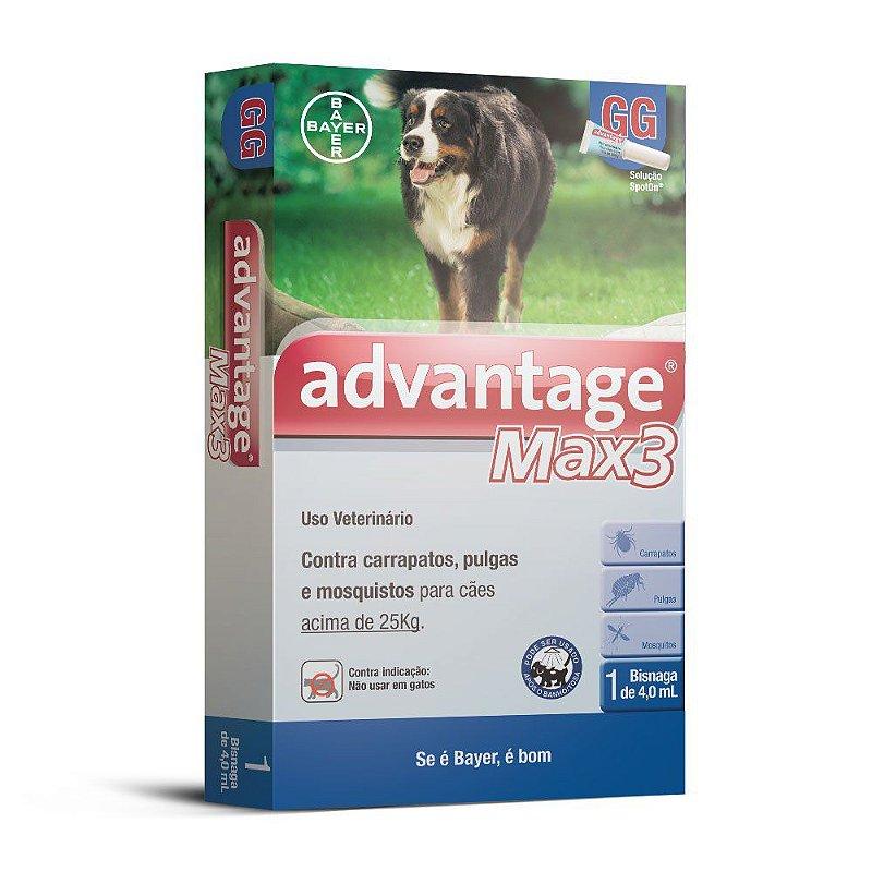 Antipulgas e Carrapatos Advantage Max3 4,0ml para Cães acima de 25kg