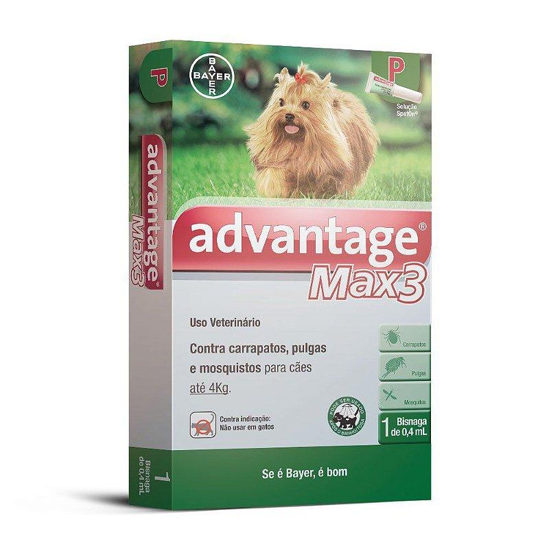 Advantage Max 3 Antipulgas e Carrapatos 0,4ml para Cães até 4kg
