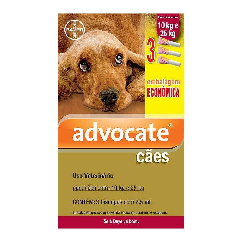 Antipulgas Econômico Advocate para Cães entre 10 e 25kg 2,5ml