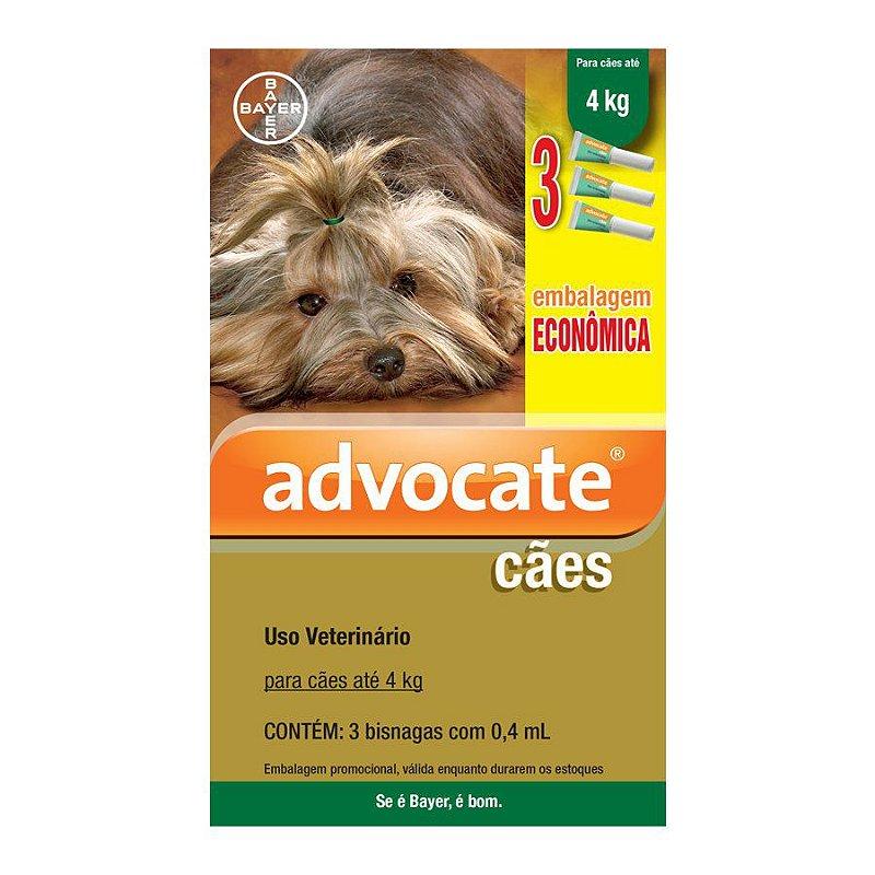 Antipulgas Econômico Advocate para Cães de até 4kg 0,4ml