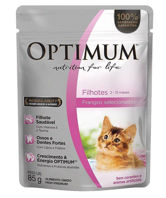 Ração Umida Optimum Sachê para Gatos Filhotes Sabor Frango - 85g