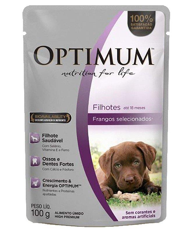 Ração Úmida Optimum Sachê para Cães Filhotes Sabor Frango - 100g