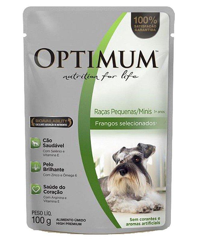 Ração Umida Optimum Sachê para Cães Adultos de Raças Pequenas Sabor Frango - 100g
