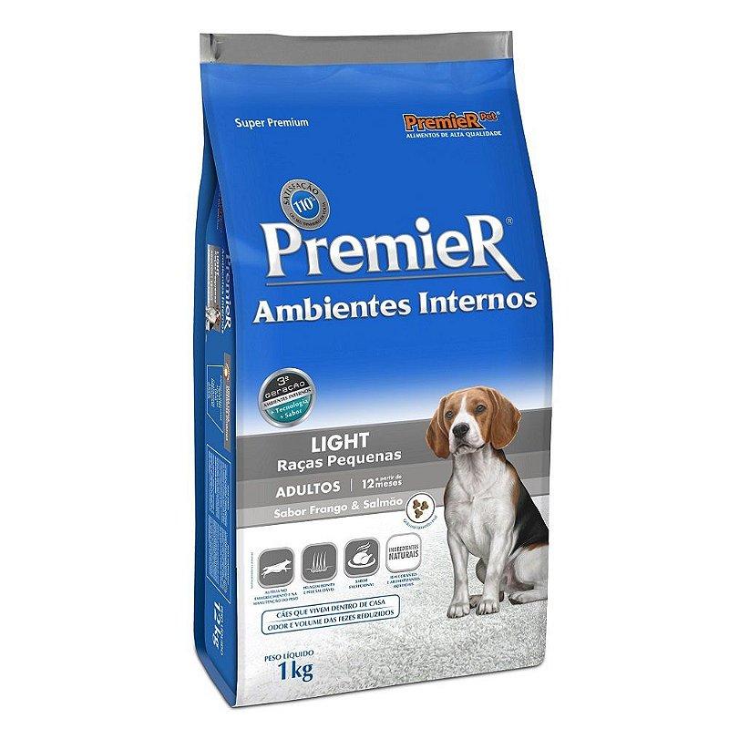 Ração Premier Ambientes Internos Light para Cães Adultos Raças Pequenas Sabor Frango e Salmão