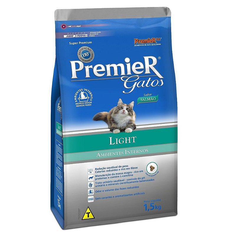 Ração Premier Ambientes Internos Light para Gatos Adultos Sabor Salmão