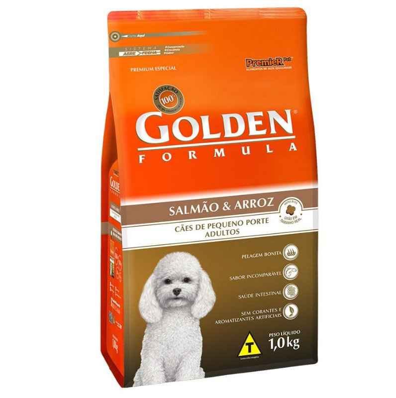 Ração Golden Fórmula Mini Bits para Cães Adultos de Pequeno Porte Sabor Salmão e Arroz