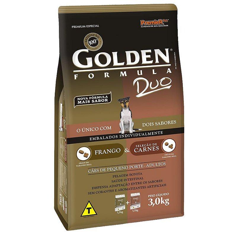 Ração Golden Duo Mini Bits para Cães Adultos de Pequeno Porte Sabor Frango e Carne