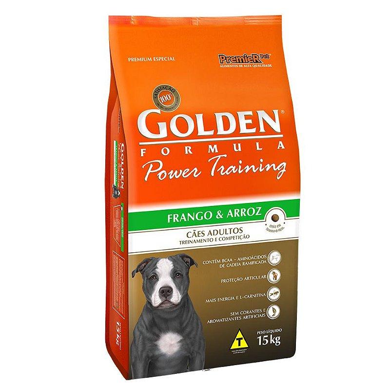 Ração Golden Power Training para Cães Adultos Sabor Frango e Arroz
