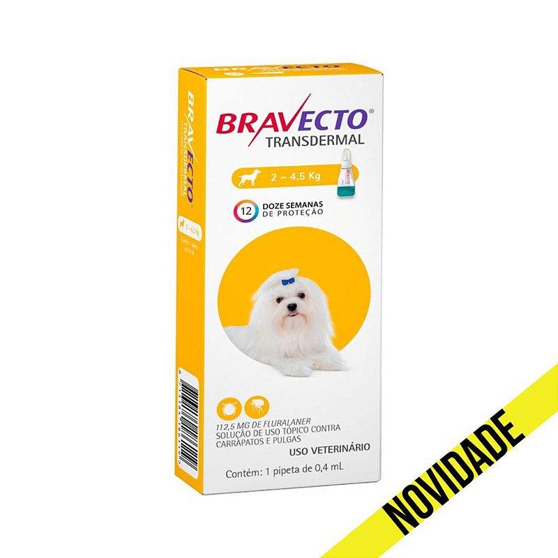 Antipulgas e Carrapatos Bravecto Transdermal MSD para Cães 2 a 4,5kg