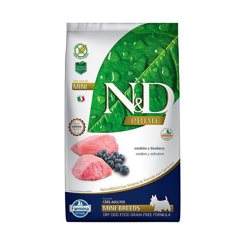 Farmina N&D Grain Free para Cães Adultos de Raças Pequenas Sabor Cordeiro e Blueberry - 2,5Kgs