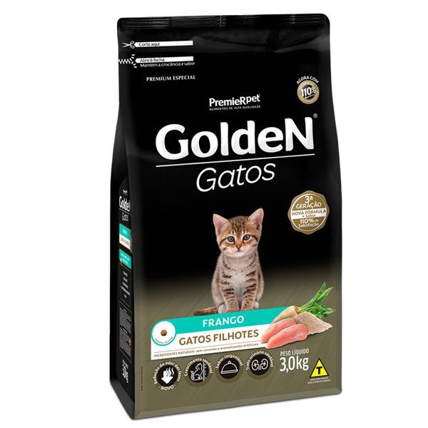 Ração Golden Gatos Filhotes Sabor Frango - 3Kgs