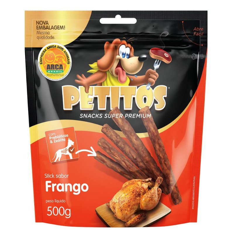 Snack Petitos Para Cães Sticks Sabor Frango - 500g