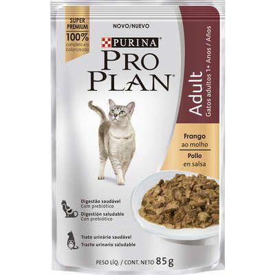 Ração Nestlé Purina Pro Plan Cat Wet Sachê Frango ao Molho para Gatos 1 + Adultos - 85g