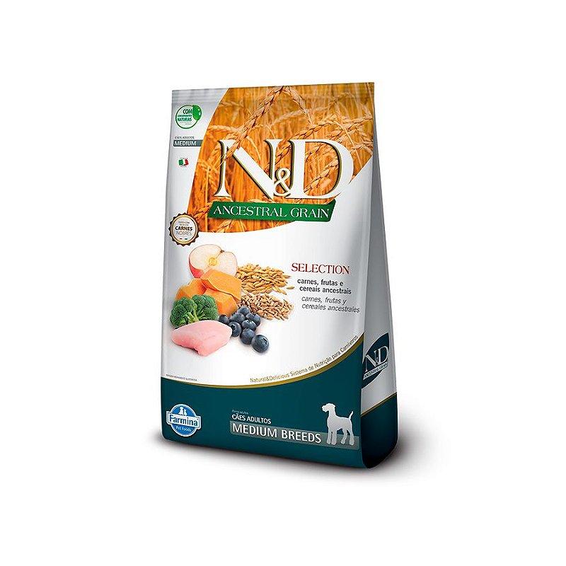 Ração Farmina N&D Ancestral Selection para Cães Adultos de Raças Médias Sabor Carne, Frutas e Cereais - 15Kg
