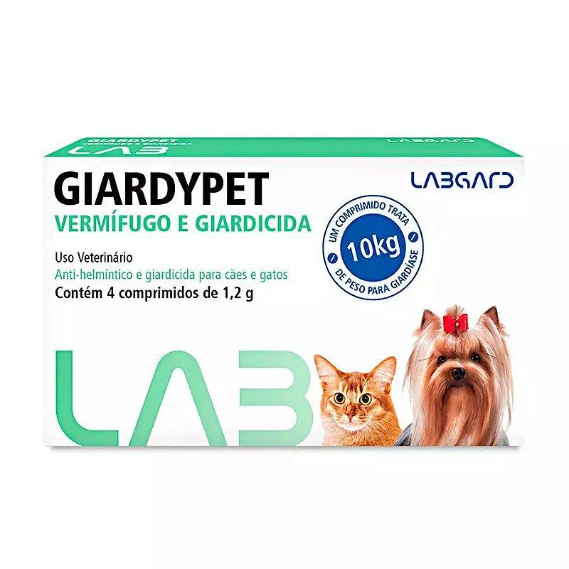 Vermífugo e Giardicida Giardypet Labgard 1,2g para Cães e Gatos com 4 Comprimidos
