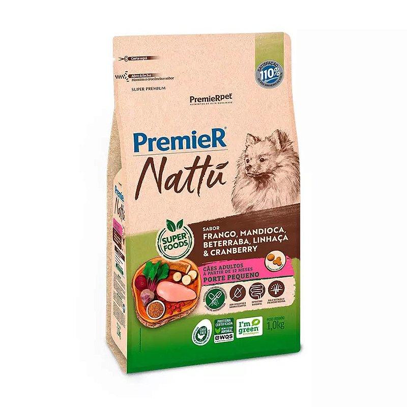 Ração Premier Nattu para Cães Adultos de Raças Pequenas Sabor Mandioca e Cranberry