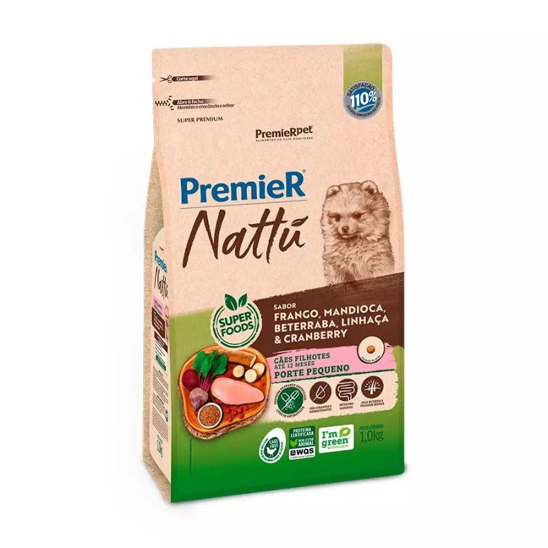 Ração Premier Nattu para Cães Filhotes de Raças Pequenas Sabor Mandioca e Cranberry