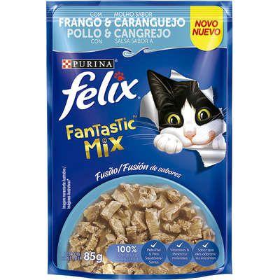 Ração Úmida Nestlé Purina Felix Fantastic Mix Frango & Molho Sabor Caranguejo para Gatos Adultos - 85g