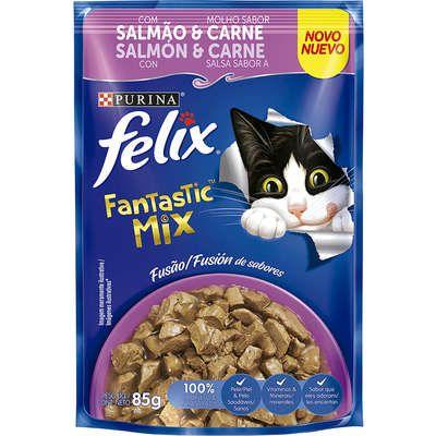 Ração Úmida Nestlé Purina Felix Fantastic Mix Salmão & Molho Sabor Carne para Gatos Adultos - 85g