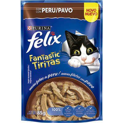 Ração Úmida Nestlé Purina Felix Fantastic Tiritas Peru para Gatos Adultos - 85g