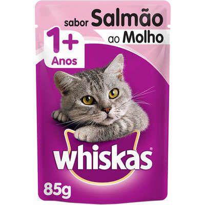 Ração Úmida Whiskas Sachê Salmão ao Molho para Gatos Adultos - 85g