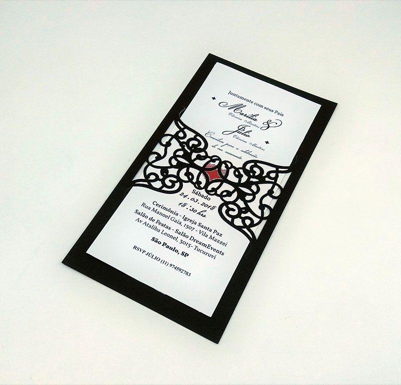 Pacote c/ 10 Convites Modelo 02 Preto