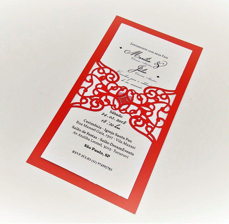 Pacote c/ 10 Convites Modelo 02 Vermelho