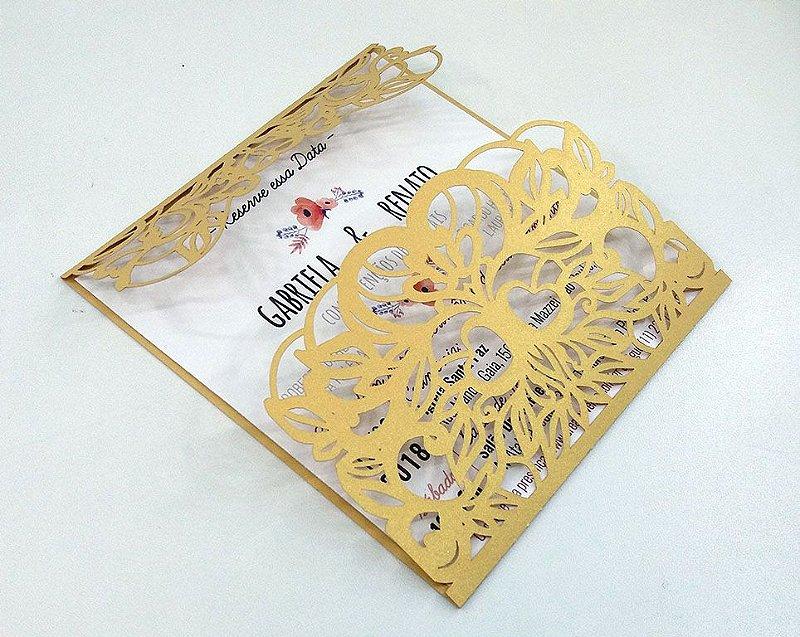 Pacote c/ 10 Convites Modelo 09 Dourado
