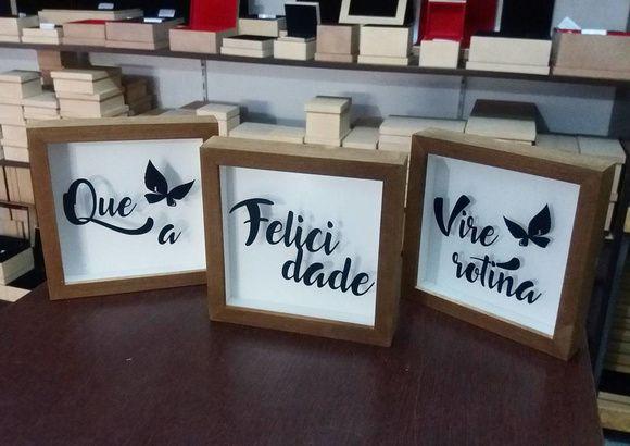 Kit 3 Quadros Decorativo - Felicidade