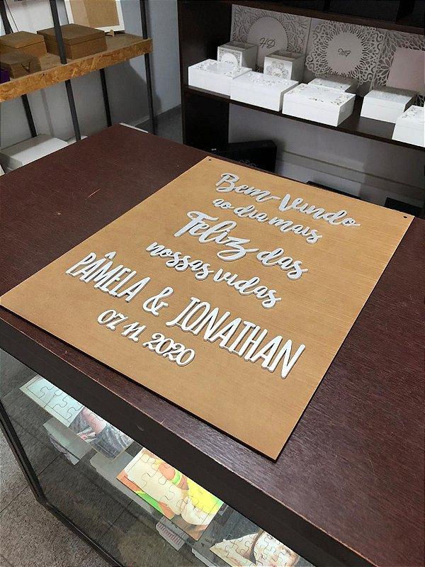 Placa p/ Pendurar na Entrada da Cerimônia com Frase Personalizada