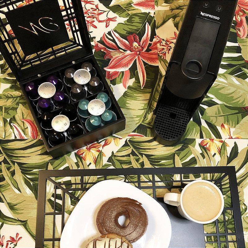 Caixa para chá ou Porta Cápsulas de Café Linhas com 4 divisões