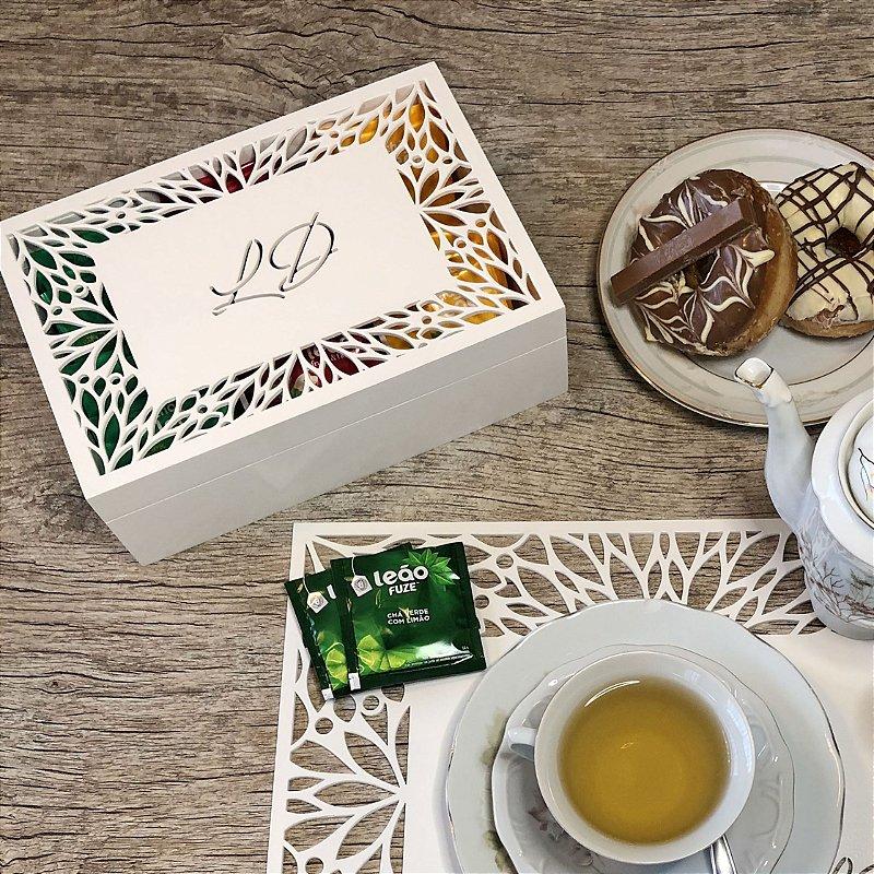 Caixa para chá ou Porta Cápsulas de Café Folhas com 6 divisões