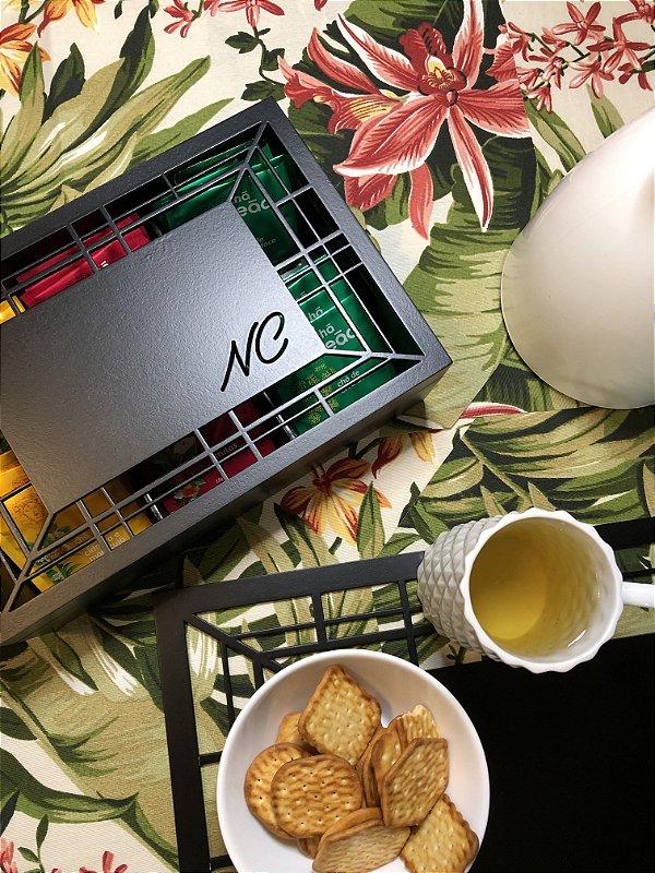 Caixa para chá ou Porta Cápsulas de Café Linhas com 6 divisões