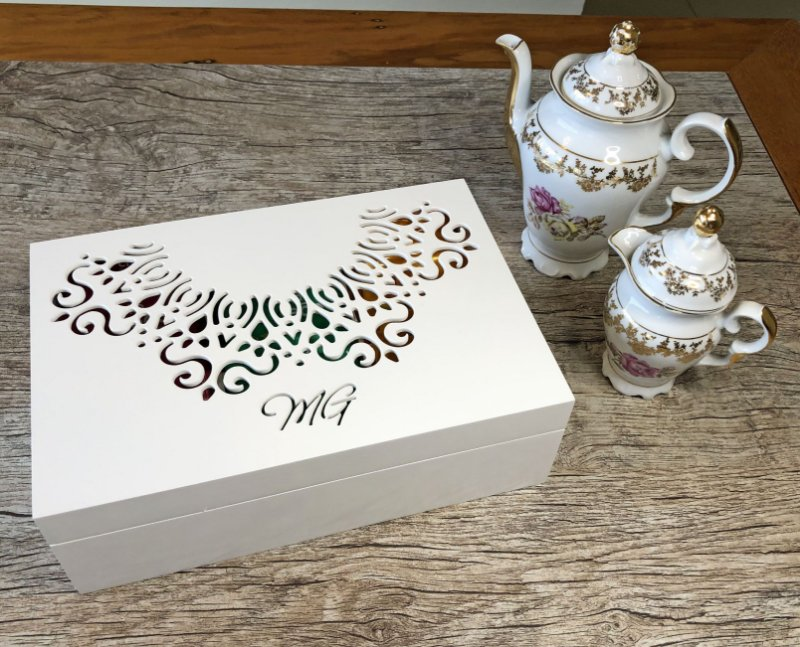 Caixa para chá ou Porta Cápsulas de Café Rendada com 6 divisões