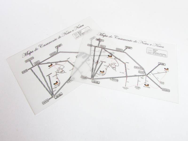 Mapa para casamento 13 x 20 cm, papel vegetal