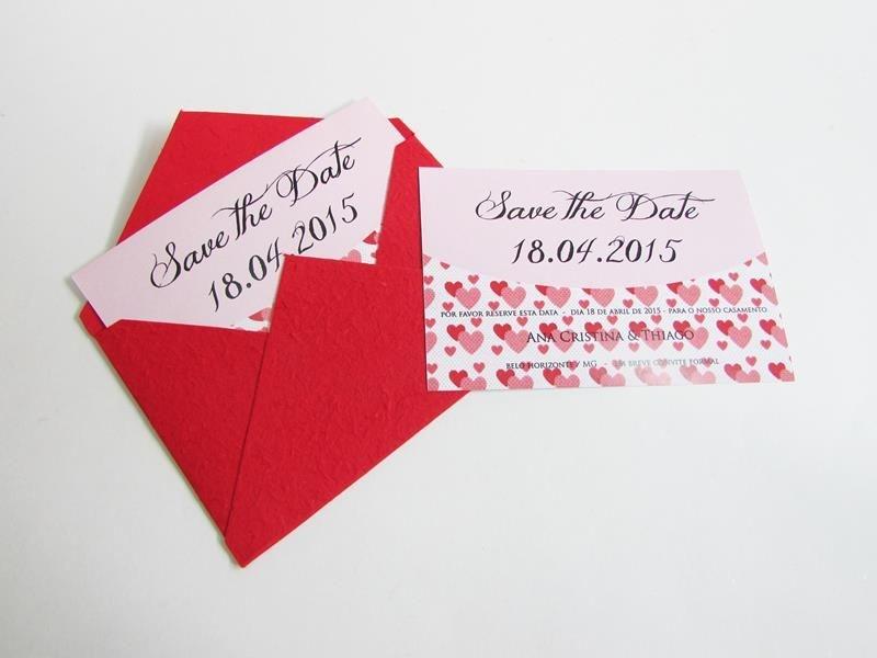 Save the date - modelo coração  - vermelho
