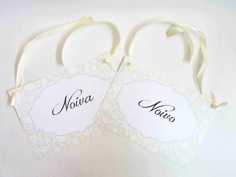 Placas cadeiras -  noiva e noivos (Par)