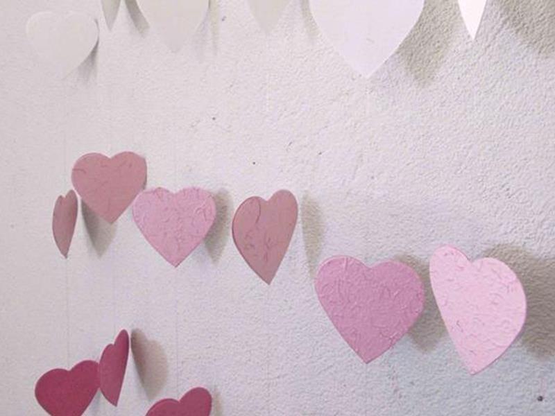 Love is in the air - VARAL ou CORTINA de CORAÇÕES  - (kit com 05 linhas/fios)